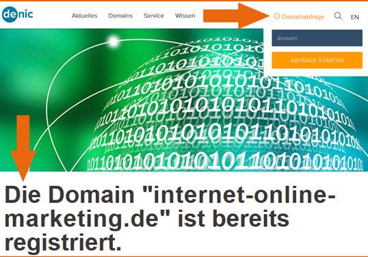 Screenshot Denic Seite, mit der man die Verfügbarkeit einer Webadresse prüfen kann.