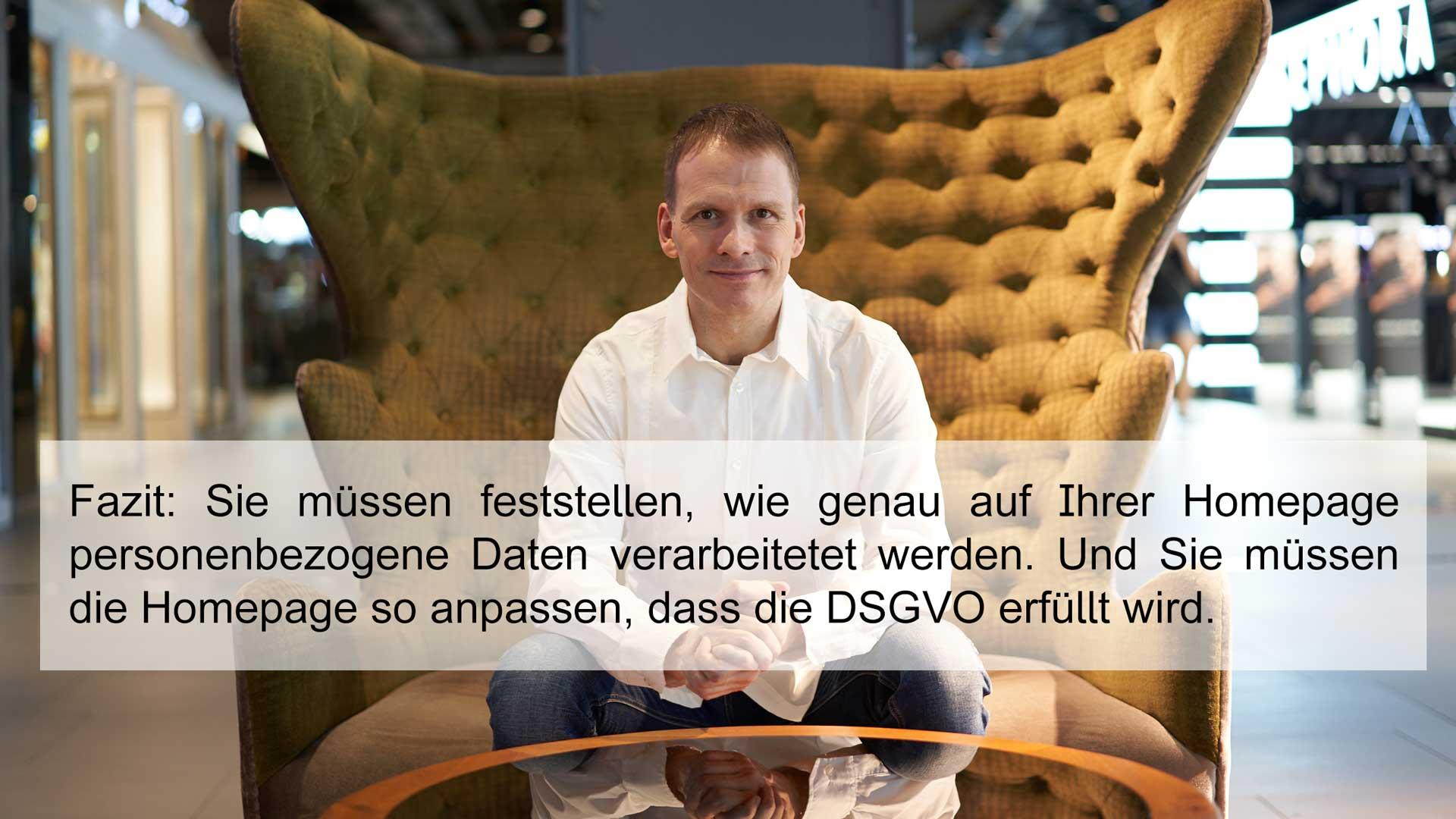 Portrait Ralf Skirr mit Text Fazit DSGVO Firmenhomepage