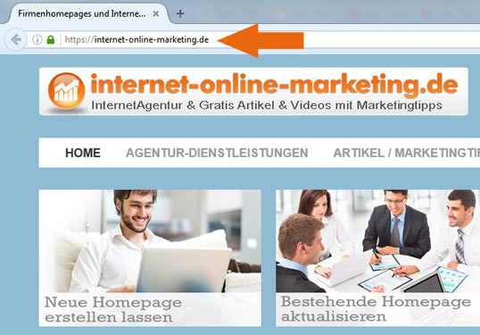 Screenshot der Firmenhomepage internet-online-marketing.de